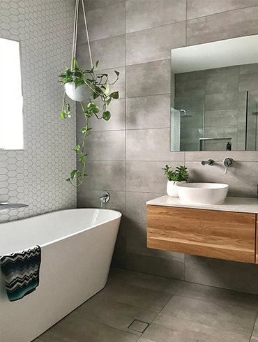 bathroom with designer tiles