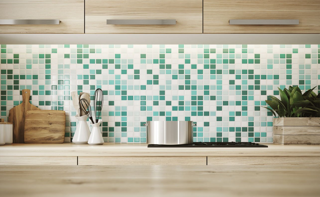 kitchen with small different colored tiles