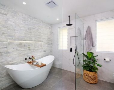 elegant bathroom with grey tiles