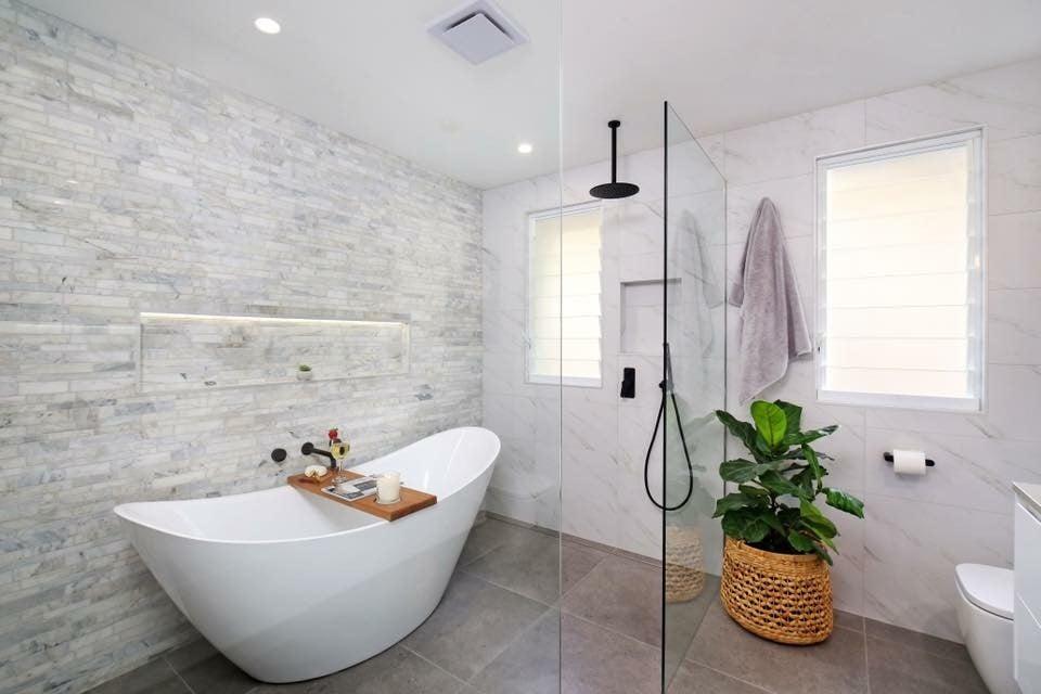 elegant bathroom with grey tiles