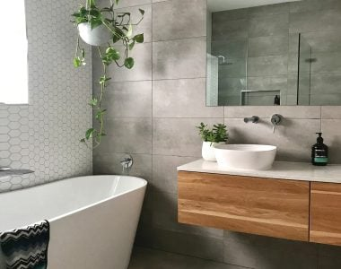 modern bathroom with grey tiles