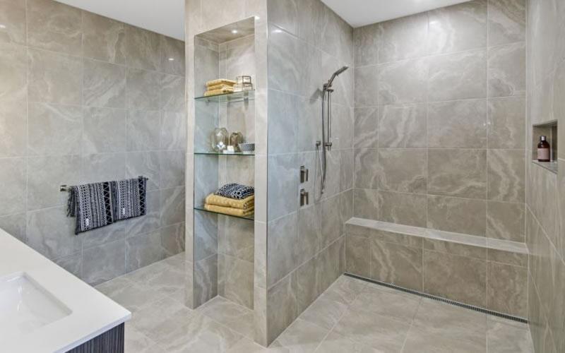 huge bathroom with floor waste grate