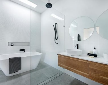 elegant bathroom with two wall mirror with bathroom
