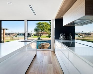 modern kitchen with white furniture